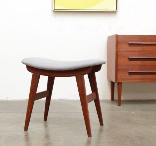 1950s Vintage Danish Modern TEAK Stool Chair Ottoman Mid Century ...