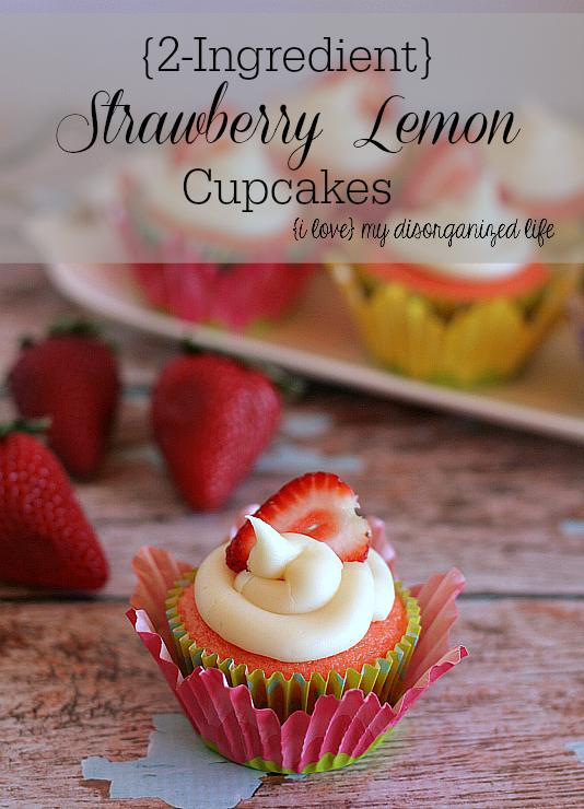 {2 Ingredient} Strawberry Lemon Cupcakes | Real Housemoms |