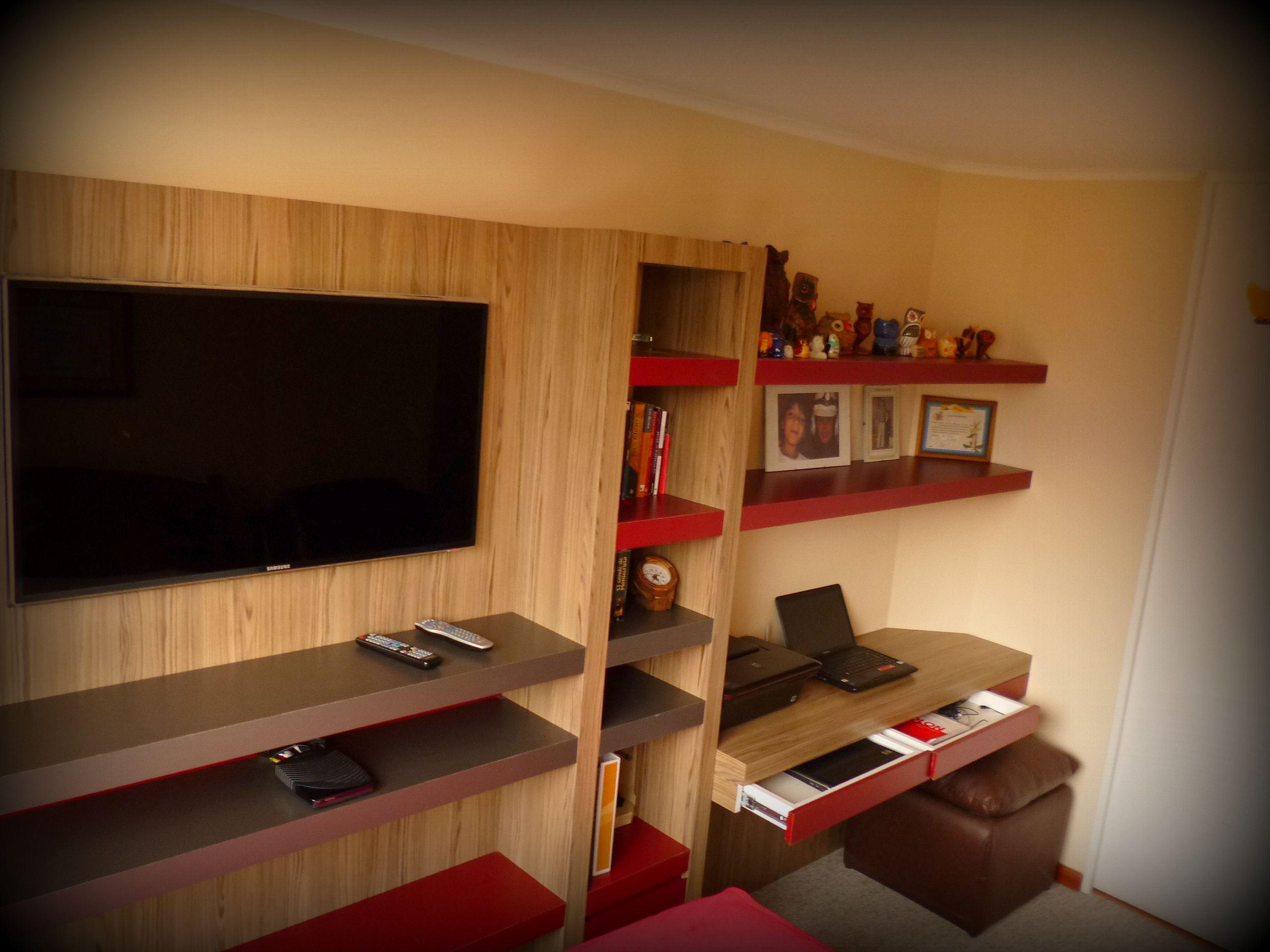 Mueble panel para tv librero con caj n profundo inferior - Libreros de madera modernos ...