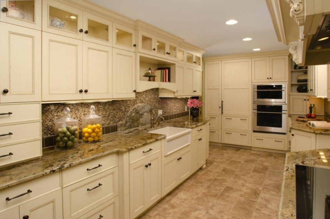 Seductive Galley Kitchen Off White Cabinets Design With Beige Granite Countertop And Beige Tile Bac Beige Kitchen Cream Kitchen Cabinets Kitchen Cabinet Design
