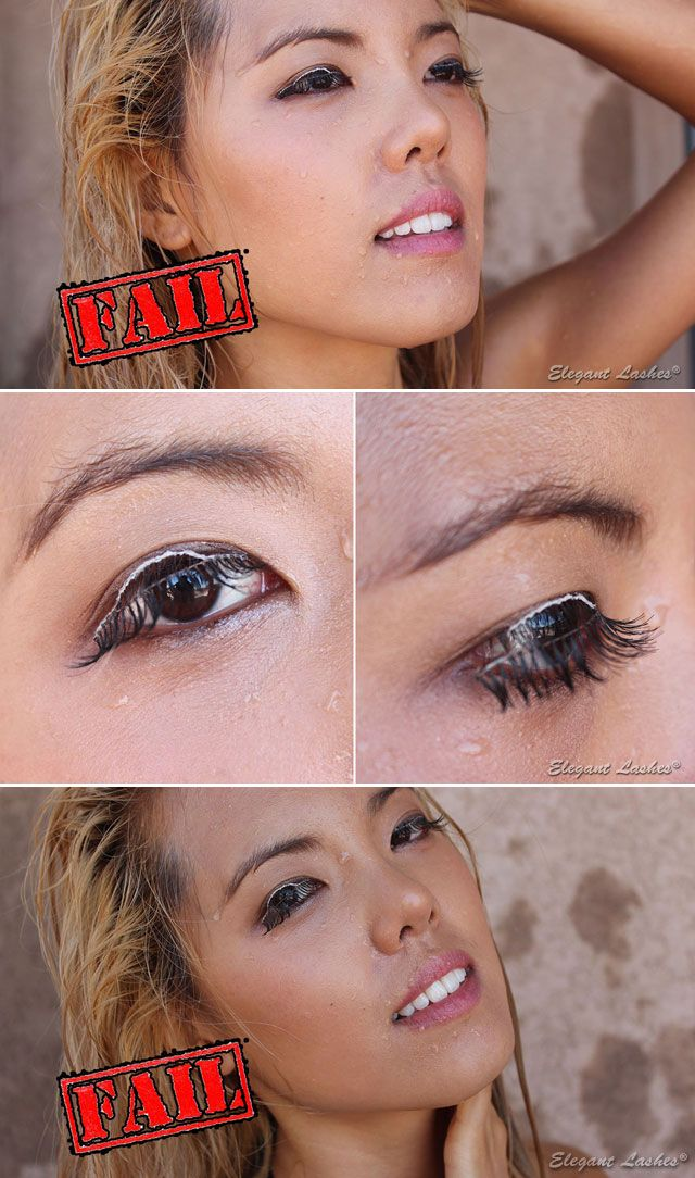 59f97488740 False eyelashes are NOT waterproof! These were Premium 100% Natural Human  Hair Lashes applied with WATERPROOF eyelash glue. We used clear glue and it  turned ...