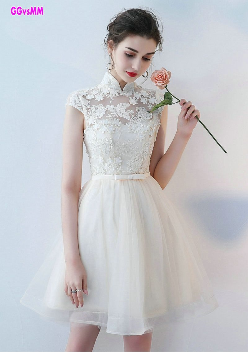 70c869e19ea Elegant Ivory lace Prom Dresses 2017 Custom Made High-Neck Tulle A-line Knee