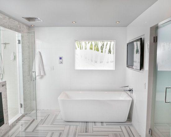 bathroom designs: modern bathroom white tile stone floor