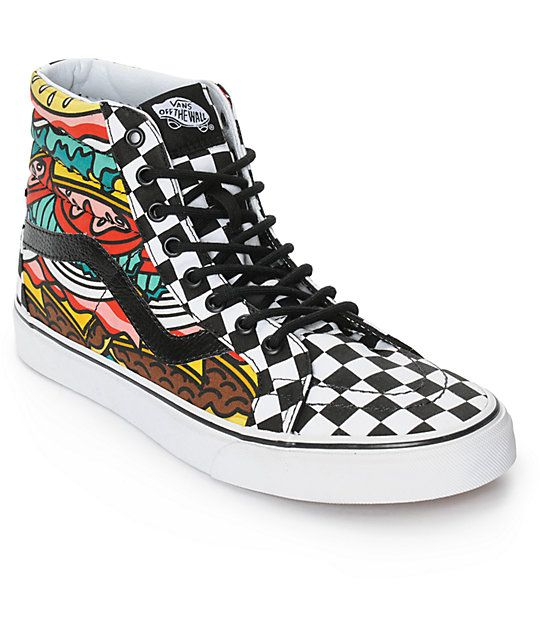 127f47429f3be3 Throw on a mouth watering new look with a colorful hamburger graphic print  on the padded sidewalls plus a black and white checkerboard canvas high top  upper ...