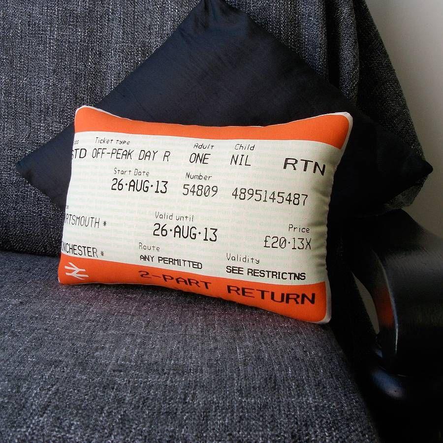 'Personalised Journey' Train Ticket Cushion Train