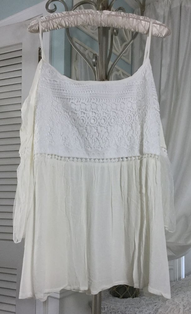 88e98cf846adb NEW~ 2X White Ivory Cream Lace Crochet Off Cold Shoulder Boho Top ...