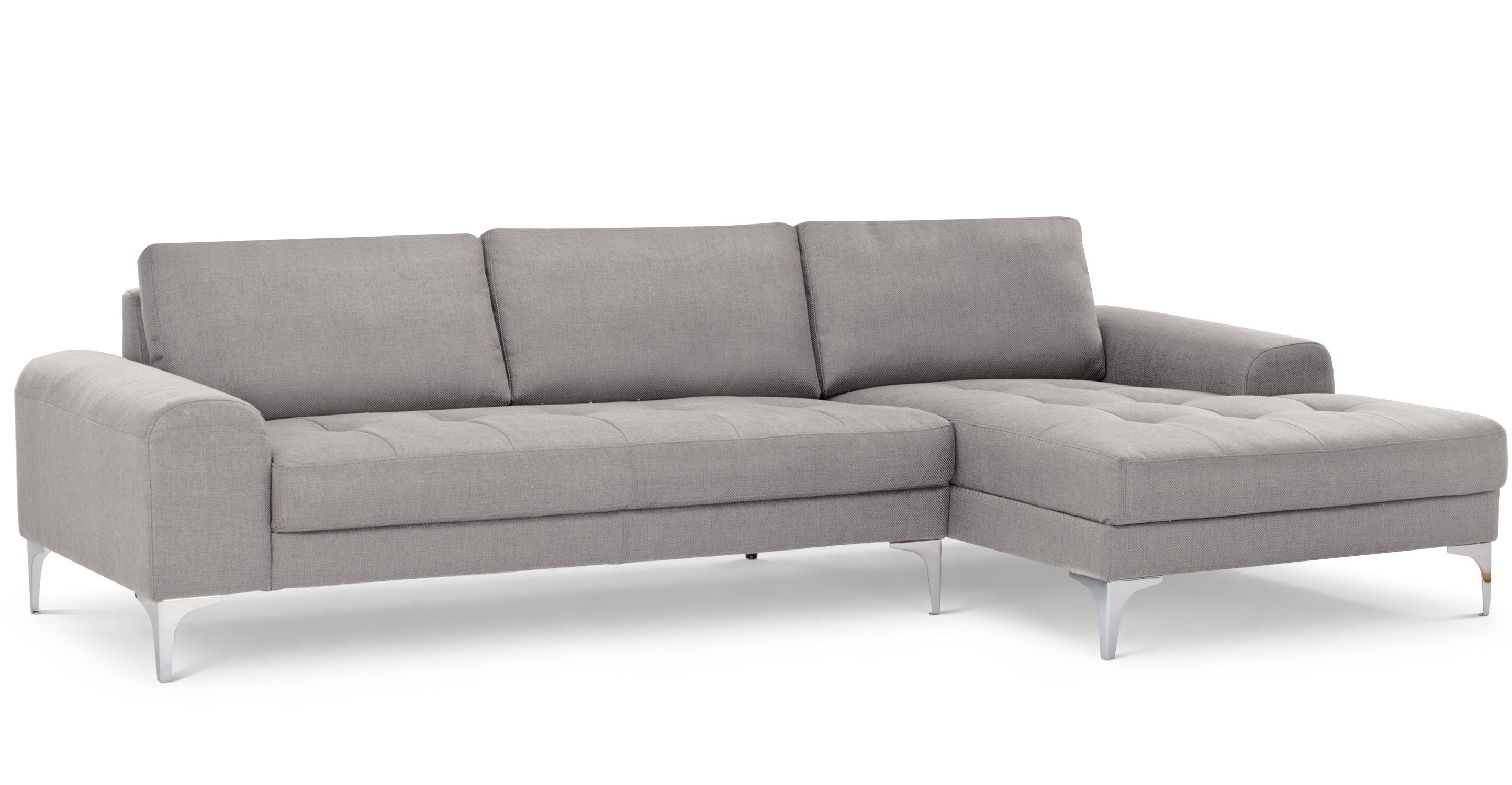 vittorio, un canapé d'angle droit gris perle | perle, mani e grigio - Angolo Chaise Whistler Grigio
