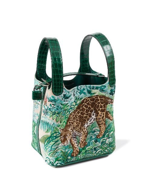 f8d89950616c This Picotin Lock calfskin and crocodile handbag is the canvas for an  embroidered version of a Dallet cat portrait.