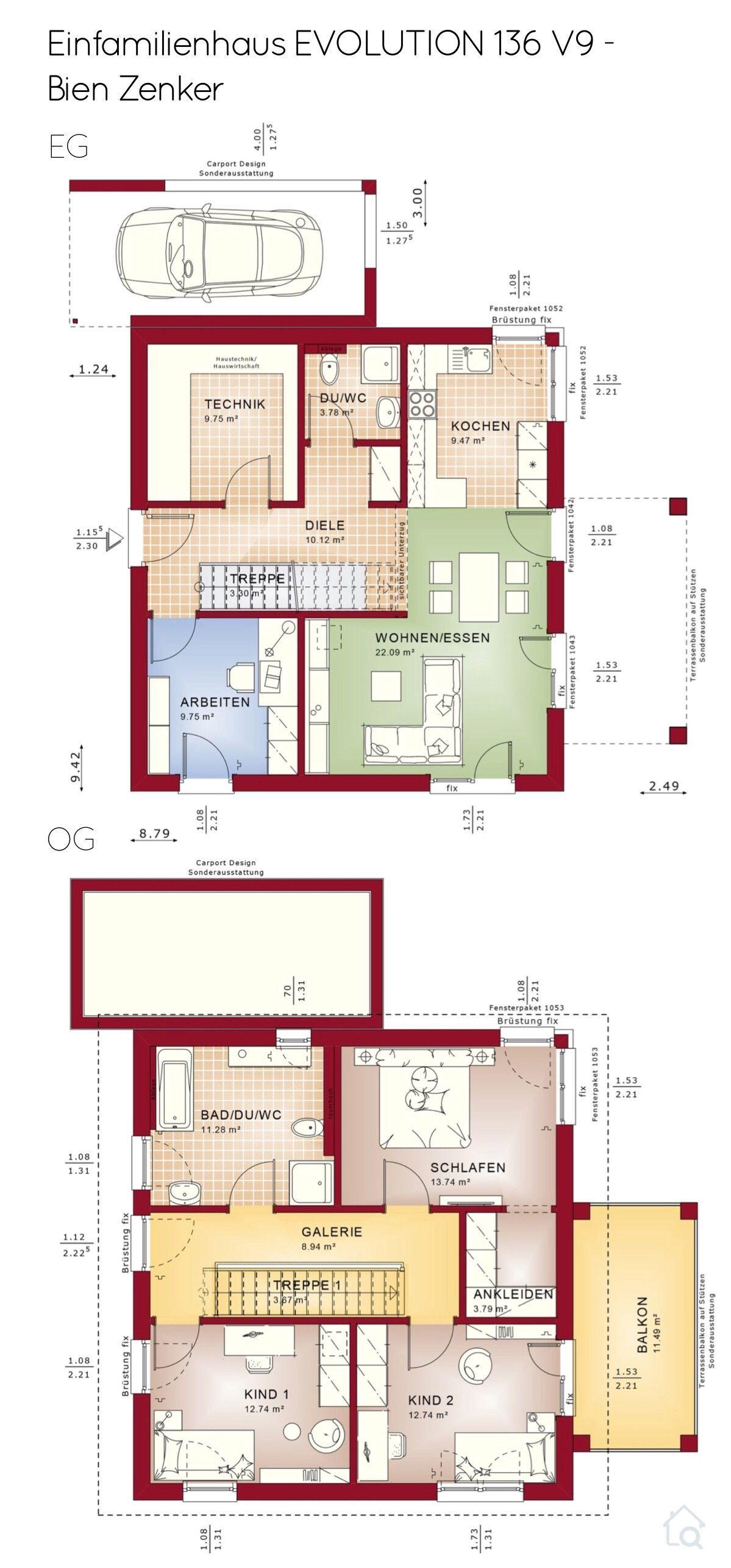 Grundriss Einfamilienhaus mit Pultdach Architektur