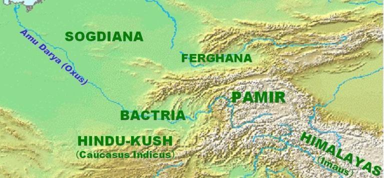 World Map Flipped.Map Of Ferghana And Bactria Around 100 Bc Wikimedia World