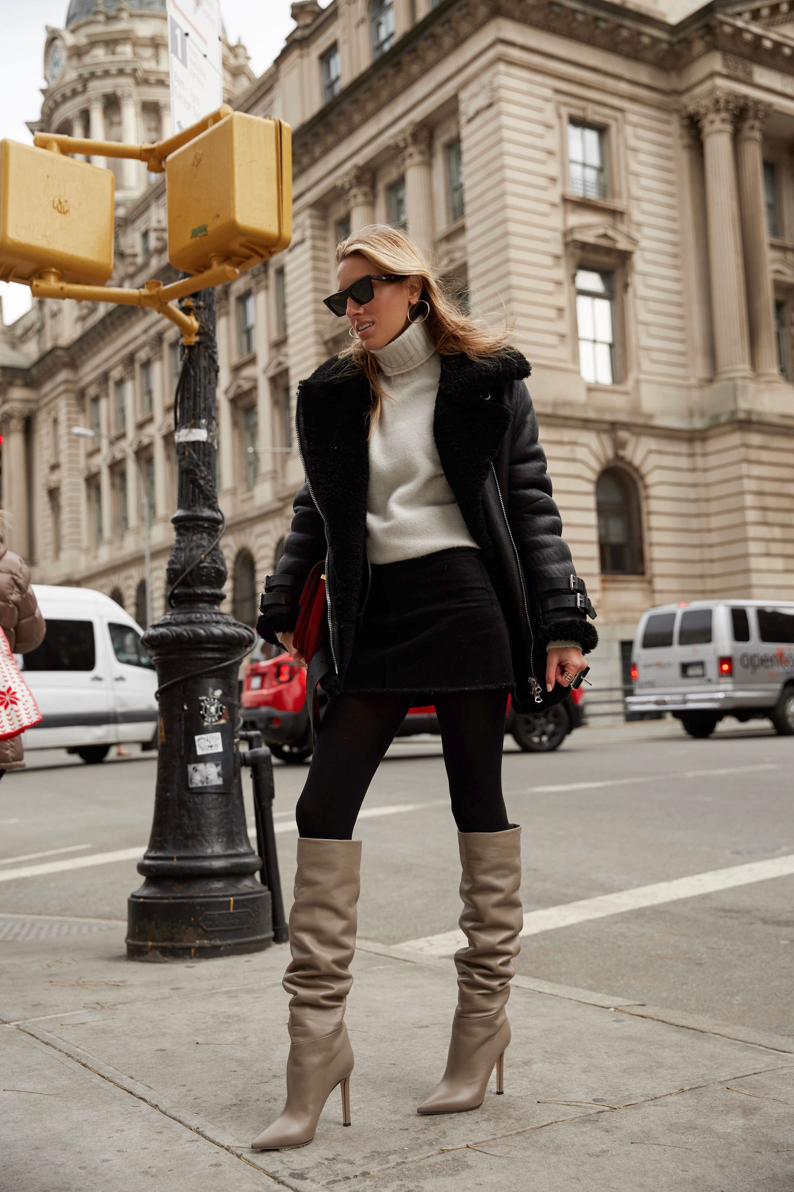 f5cba097f6b5 Over The Knee Boots · Fashion Blogger Lisa DiCicco Cahue wearing Tamara  Mellon Icon boot in Stone with black tights,