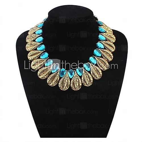 Women's Luxurious Beads Leaves Cluster Bib Statement Necklace - USD $13.99