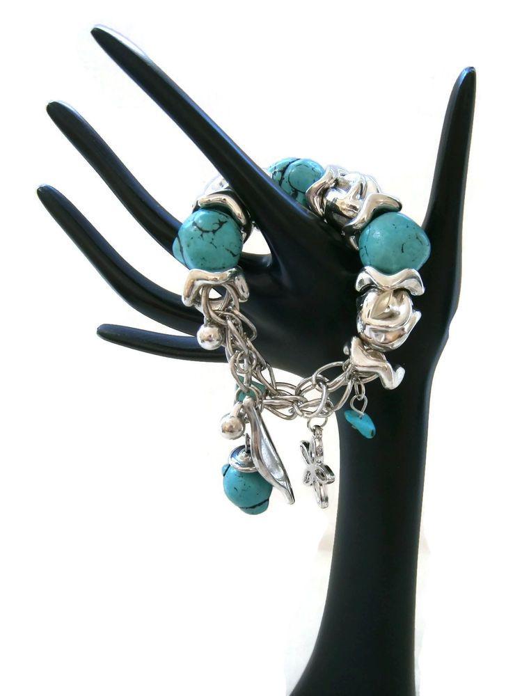 Chunky Turquoise Black Silver Tone Ladies Stretch Charm Bracelet New