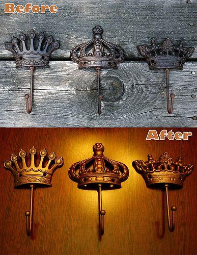 Spraypainted Crown Hooks