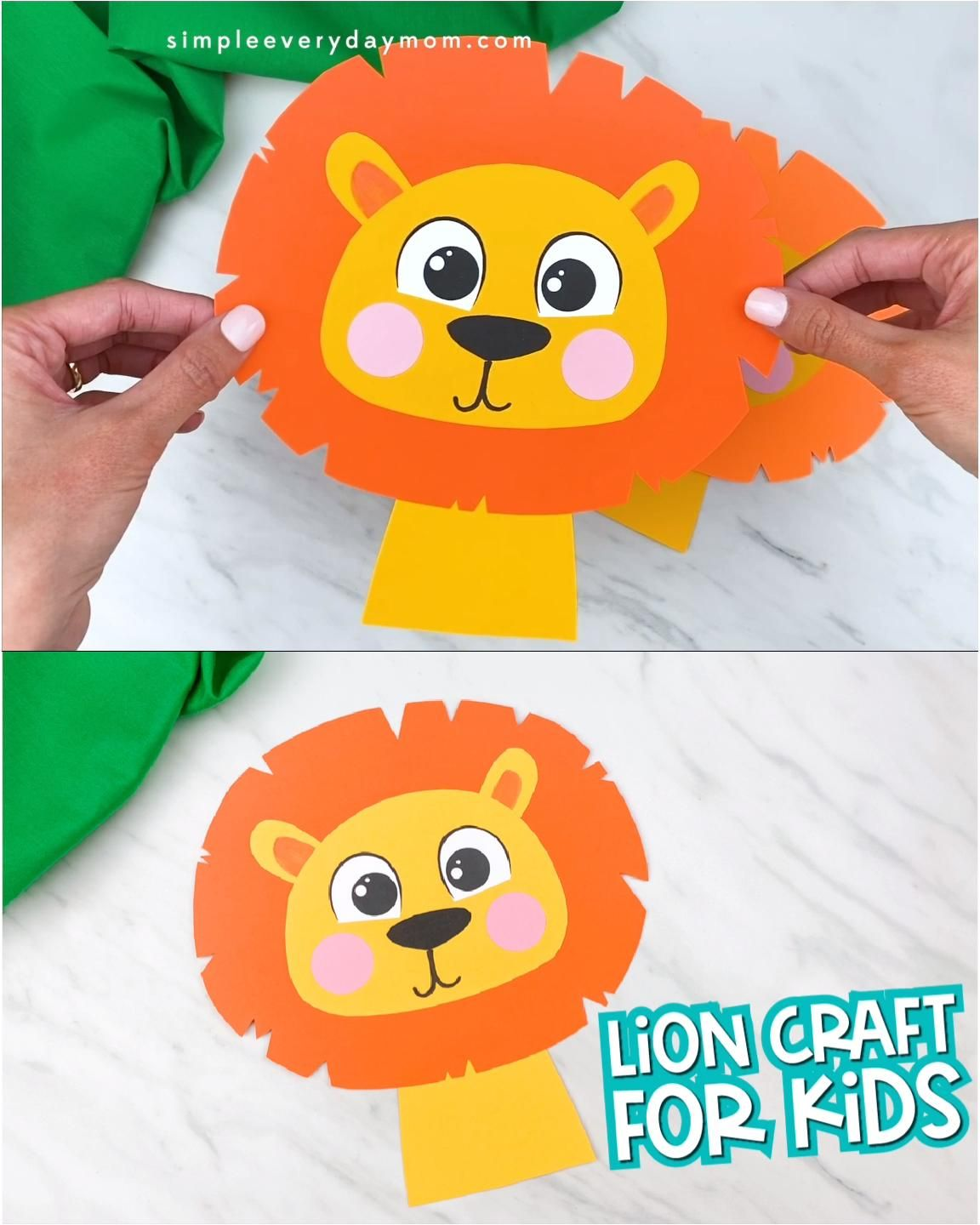 This easy lion craft for kids is a perfect activity to do for zoo animal themes, wild animal themes or jungle animal themes! It comes with a free printable template and is great for creating with preschool, kindergarten and elementary children.   #simpleeverydaymom #lioncrafts #animalcrafts