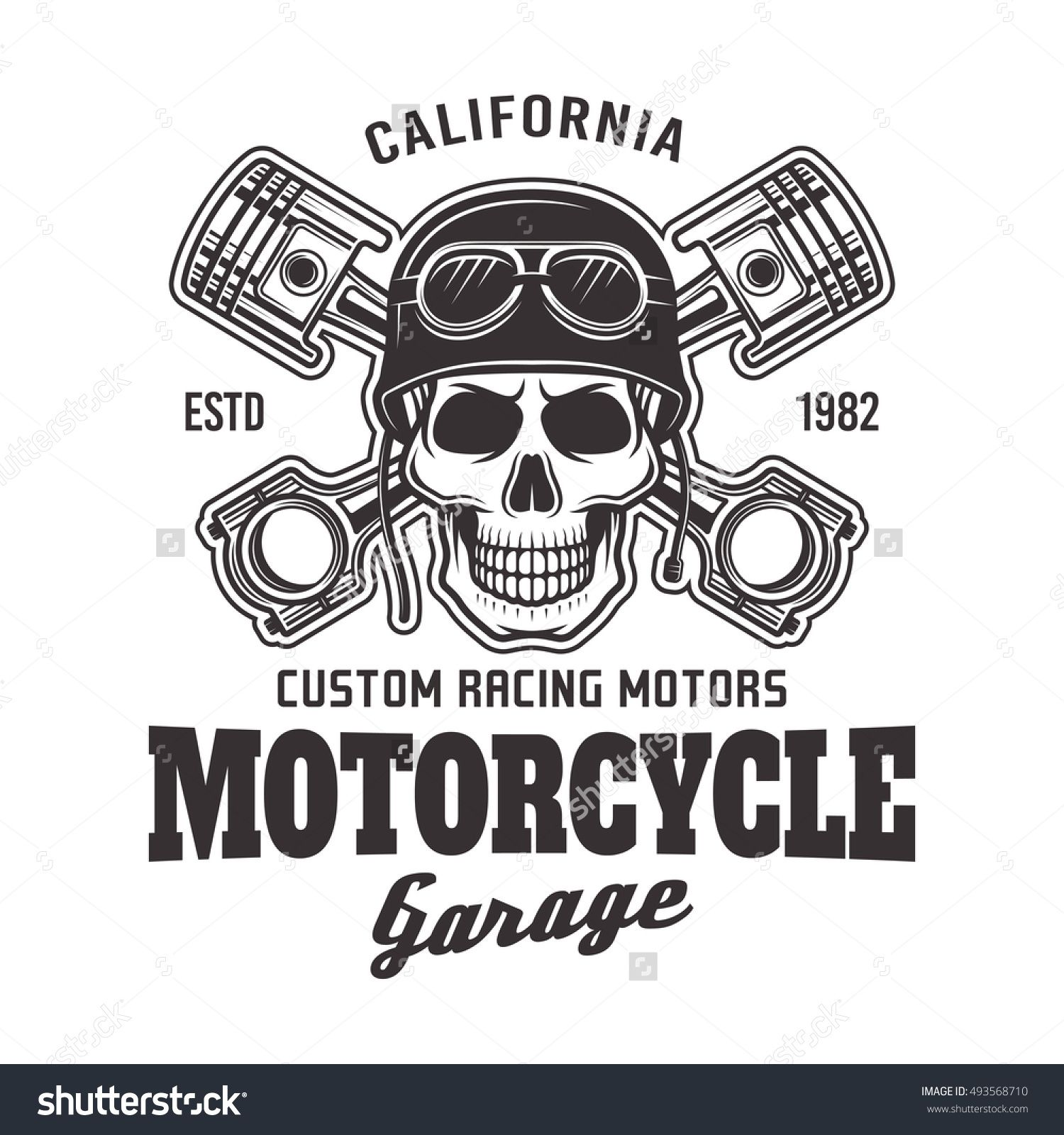 motorcycle garage vector biker emblem label or logo with