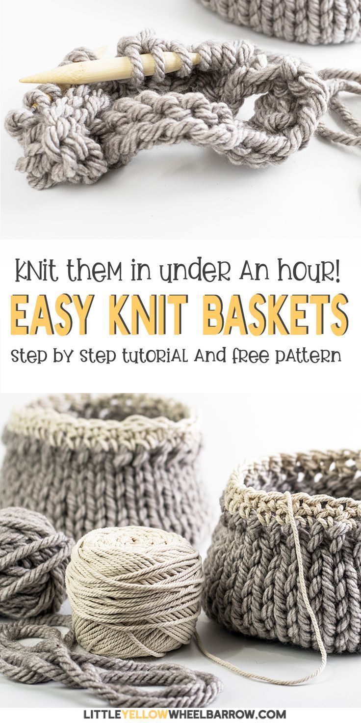 This is the perfect DIY project for you home. These great knit basket are so easy that even a beginning knitter can do it. With very little time and effort you can make up several of these great knit baskets for your home or to give as a gift for your friend and family members this holiday season. If you have always wanted to knit something for your home, you should try this free knitting pattern and make some great baskets today. #yarn #knitting #project #pattern #diy #craft