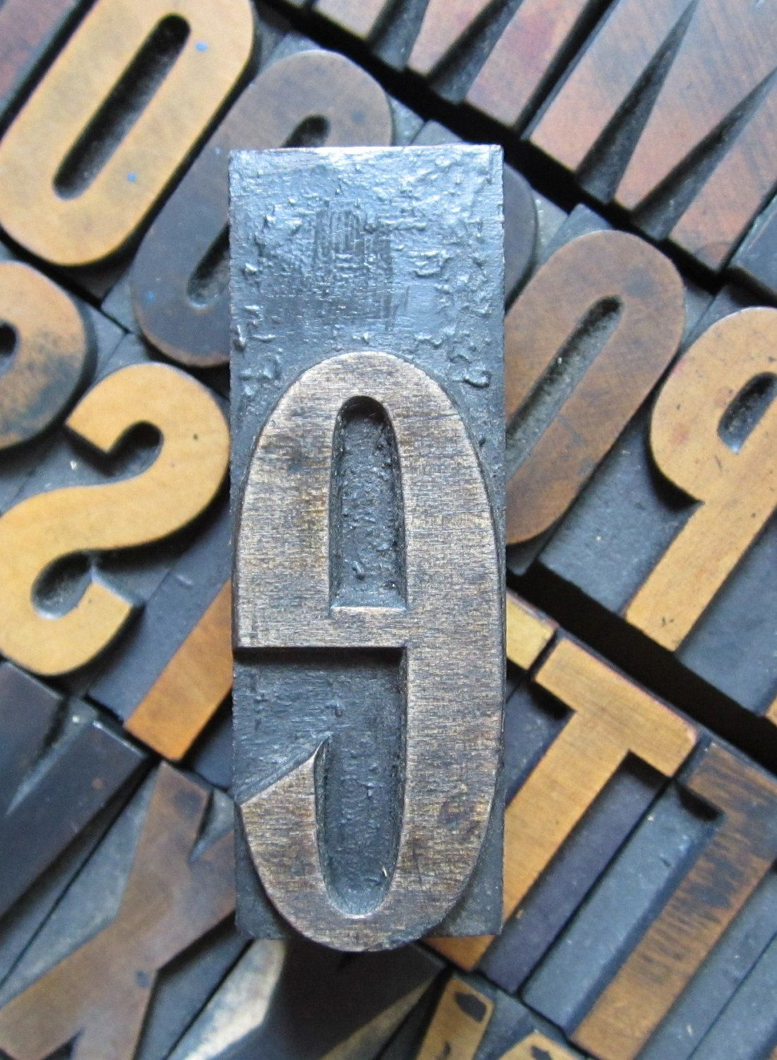 Antique Letterpress Wood Type Printers Block Letter E