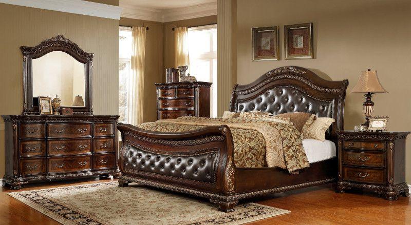5 Pc Astoria Grand Medellin Dark Brown Finish Wood Tufted Queen Sleigh Bedroom Set Bedroom Set Sleigh Bedroom Set Bedroom Furniture Sets