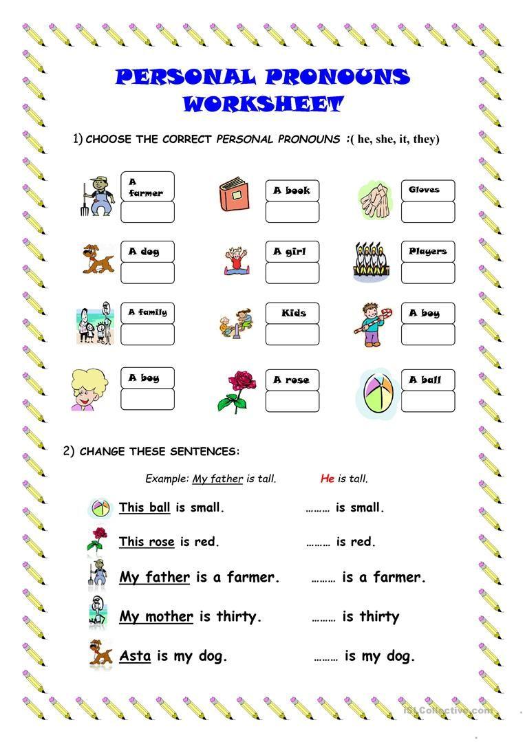 Personal pronouns worksheet worksheet Free ESL printable – Esl Printable Worksheets