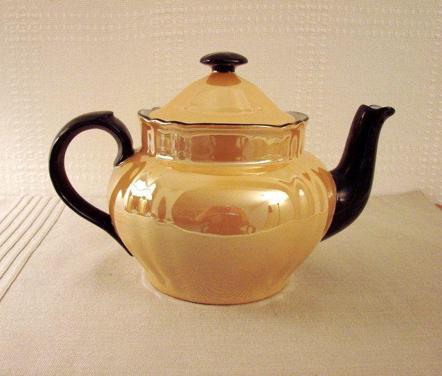 Czechslovakian Orange Luster Teapot by OrphansfromtheAttic on Etsy