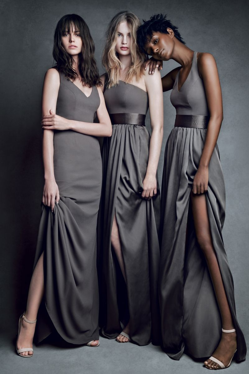 413b77086ff Bridesmaids dresses  Vera Wang V-Neck Bridesmaid Gown in Charcoal ...