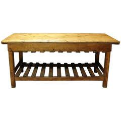 A New England Antique Maple Wood Two Tier Farm Table Maple Wood Farm Table Wood