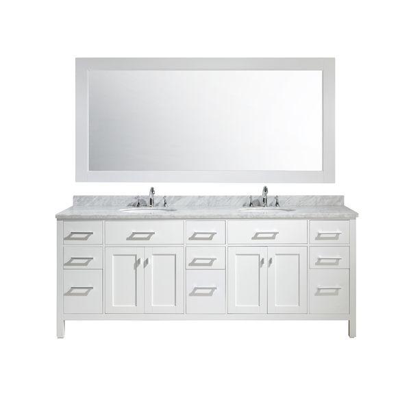 84 inch double sink vanity top. Design Element London 84 inch Double Sink Vanity Set in White  Like his and