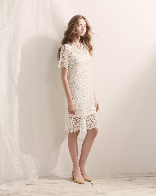 優雅透肌感織花蕾絲兩件式洋裝|女裝|MEIER.Q