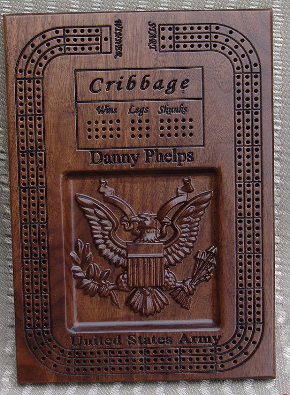 Army Cribbage Board Style5 By Uniquegiftsofwood On Etsy
