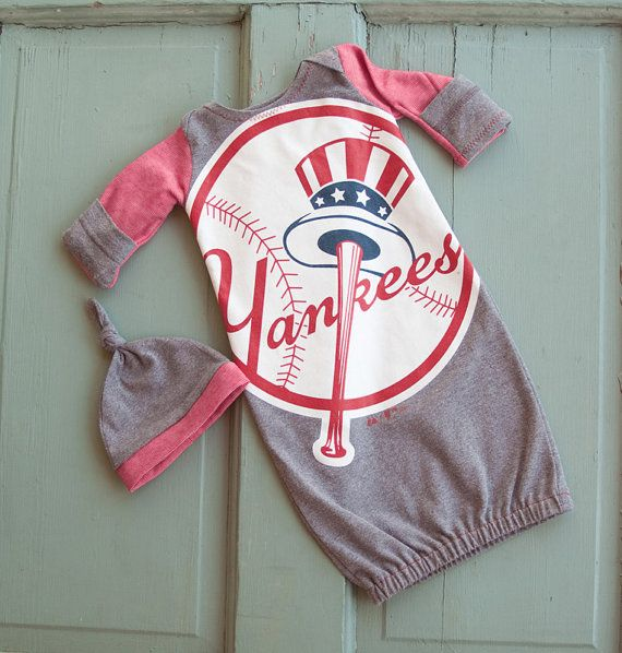 532c31f1 I'm not really a sports fan, in general but I do like this. It's so cute!  ~~~ YANKEES Baby Layette Gown with Hat by VintageDuck on Etsy