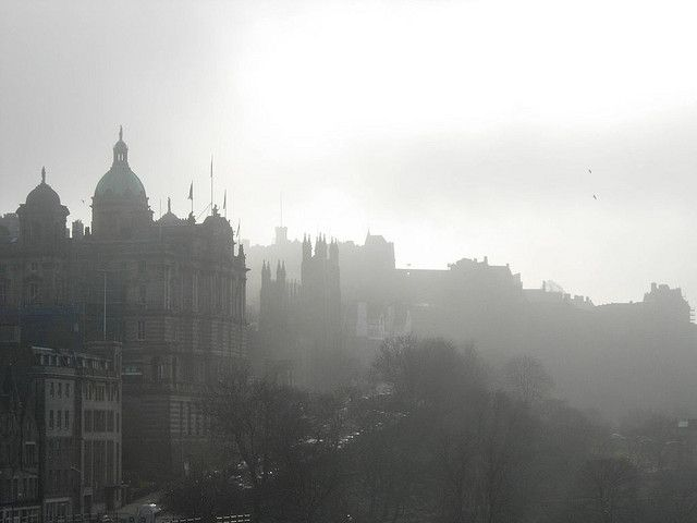 The view over to the Castle on a misty morning