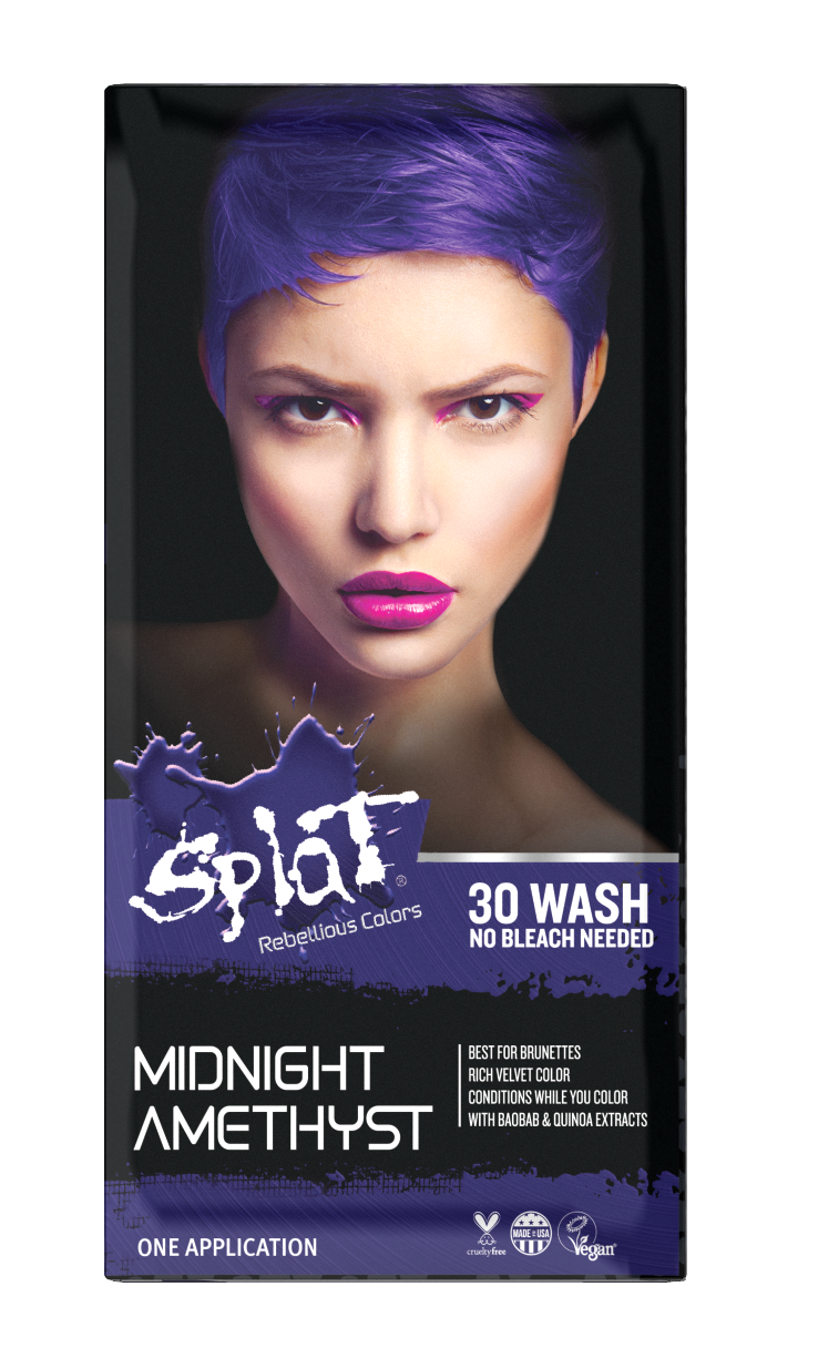 Free 2 Day Shipping Buy Splat Midnight Amethyst Hair Dye Semi Permanent Purple Hair Color At Walmart Com In 2020 Splat Hair Color Dark Hair Dye Bleach Hair Dye