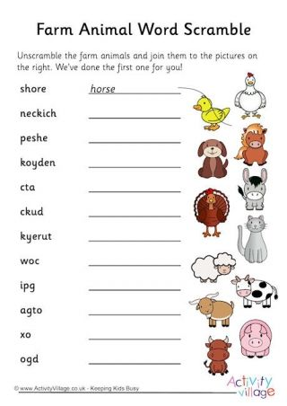 farm animal word scramble 2 puzzles english class spelling activities ve words. Black Bedroom Furniture Sets. Home Design Ideas