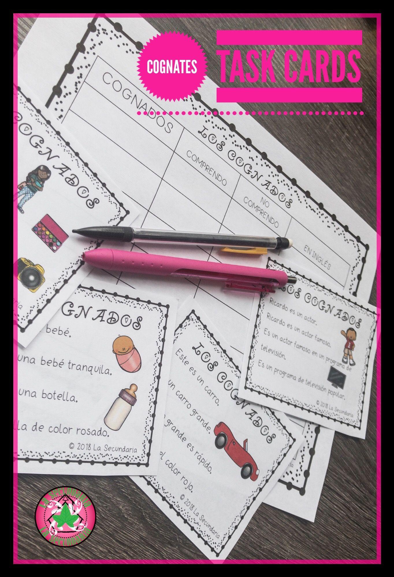Spanish Cognates Task Cards
