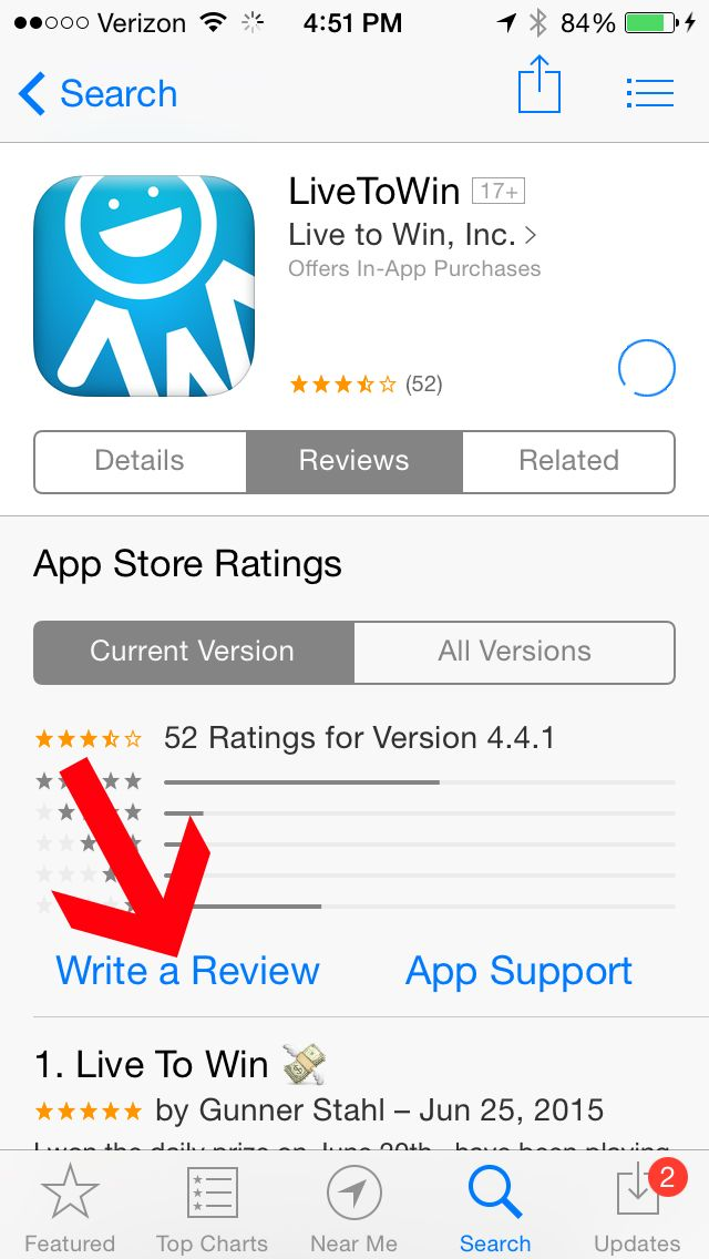 How to review the Live to Win App on an iPhone 4 App support