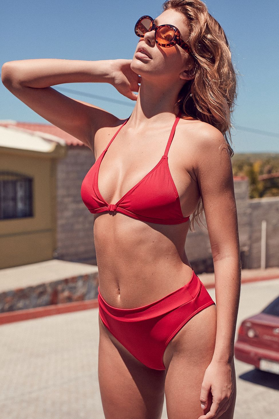 e5842506b8 Urban Outfitters Out From Under Brazilian '80S High-Waisted Bikini Bottom -  Light Red S