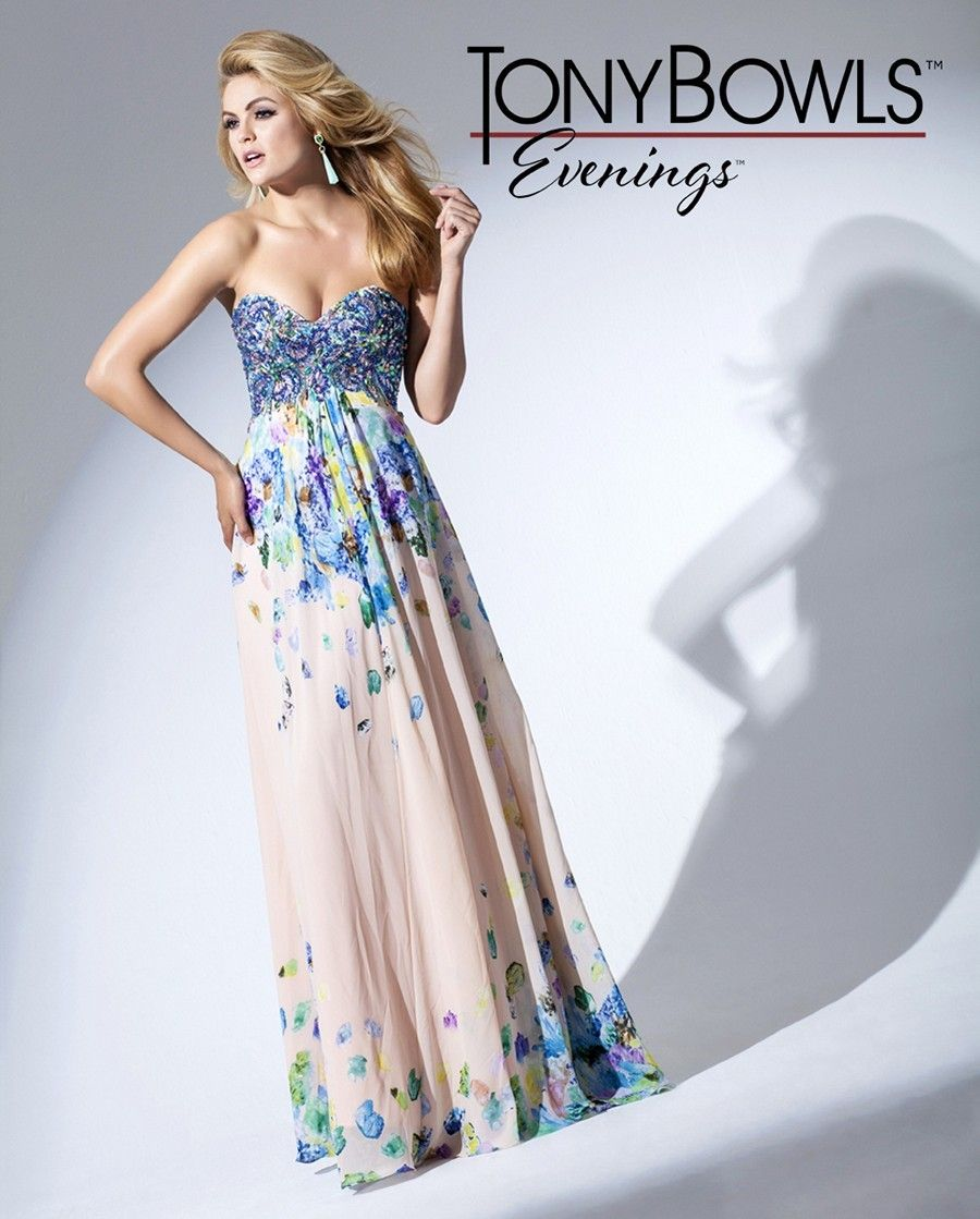 Tony bowls evenings tbe sweetheart bust printed empire dress