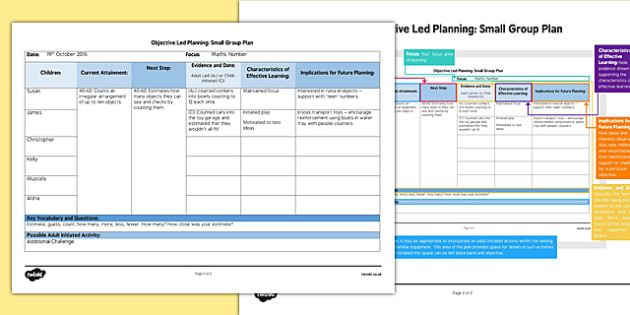 Small Group Objective Led Planning Template - class ...