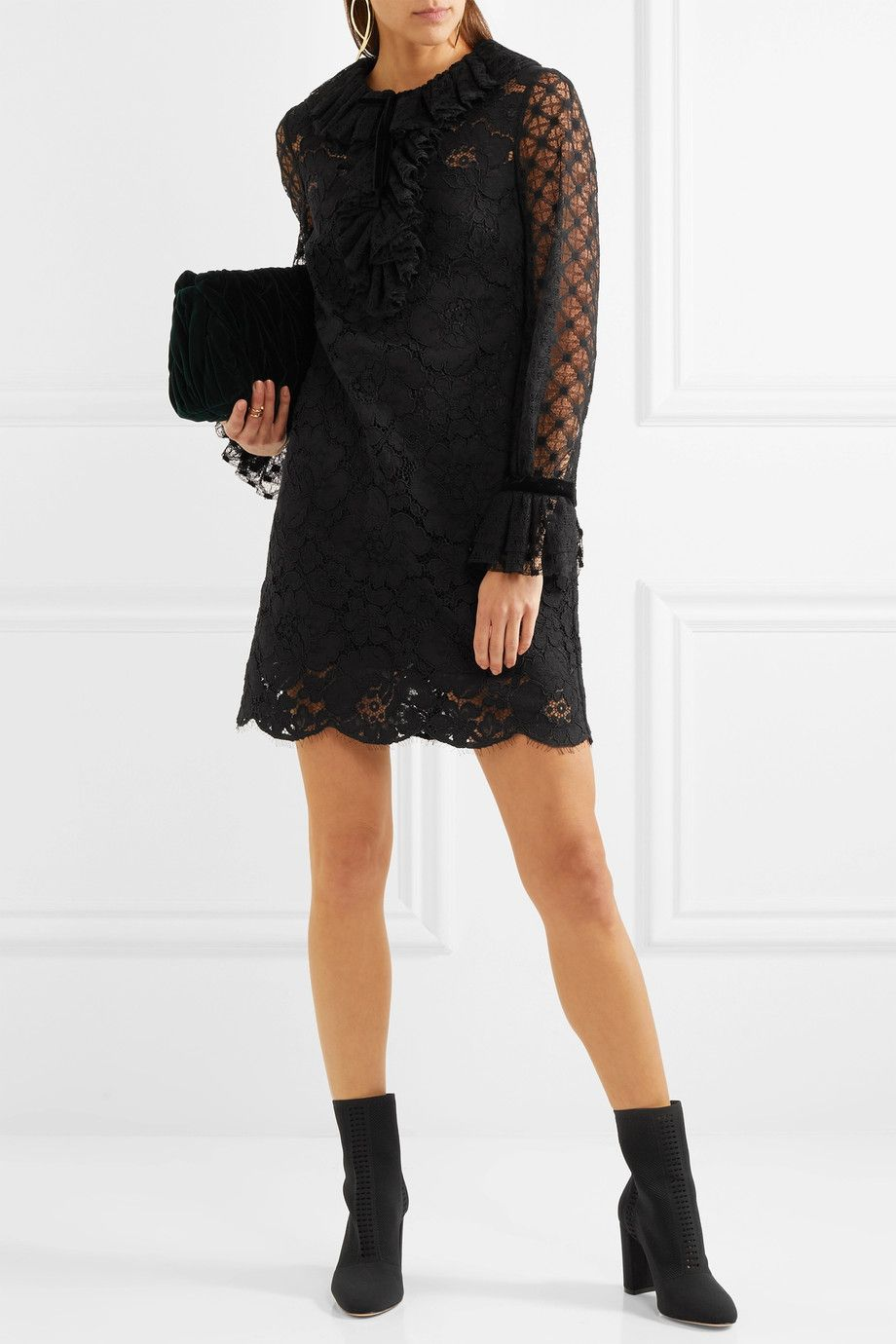Velvet-trimmed Ruffled Corded Lace Mini Dress - Black Philosophy di Lorenzo Serafini ovcDrYgO