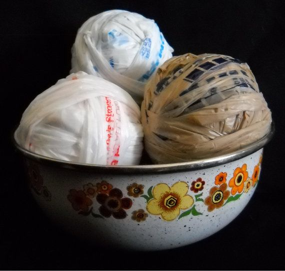 Blue and White Variegated Plarn  Reclaimed HDPE Plastic by AndaP, $1.99