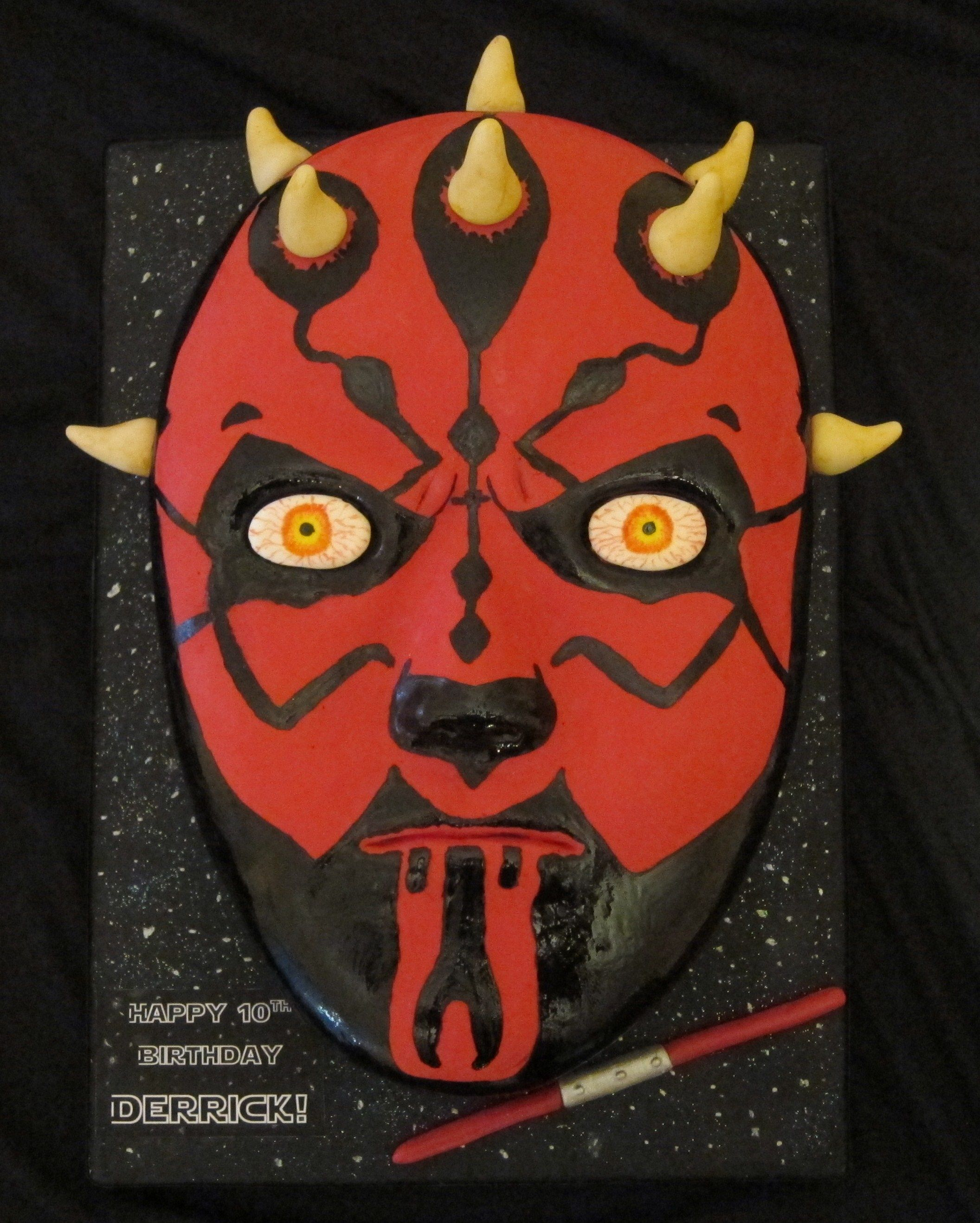 Darth maul one 9x13 carved and covered with fondant - Lustre star wars ...