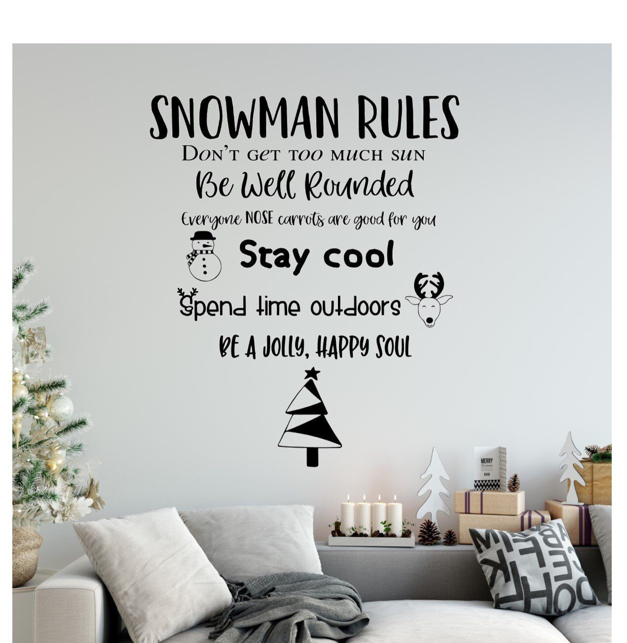 FREE SHIPPING Snowman Rules Christmas Decor Christmas