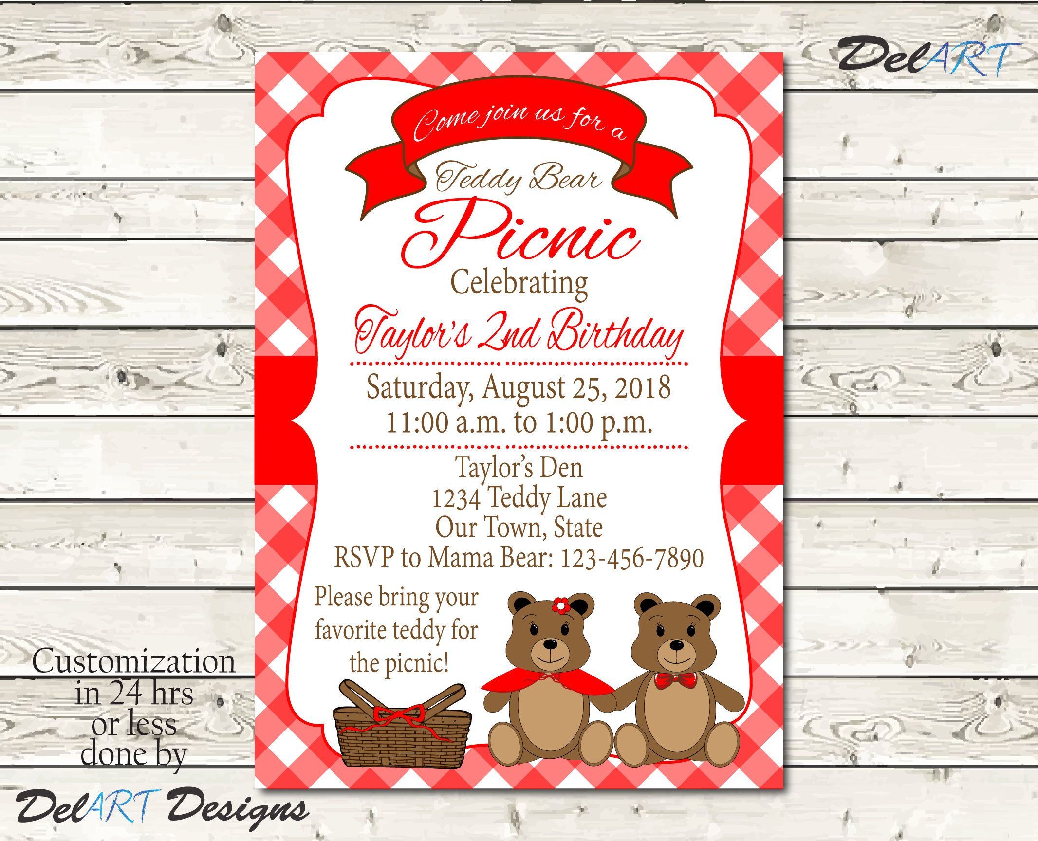 Teddy Bear Picnic Invitation or Save the date, Digital File, Red ...