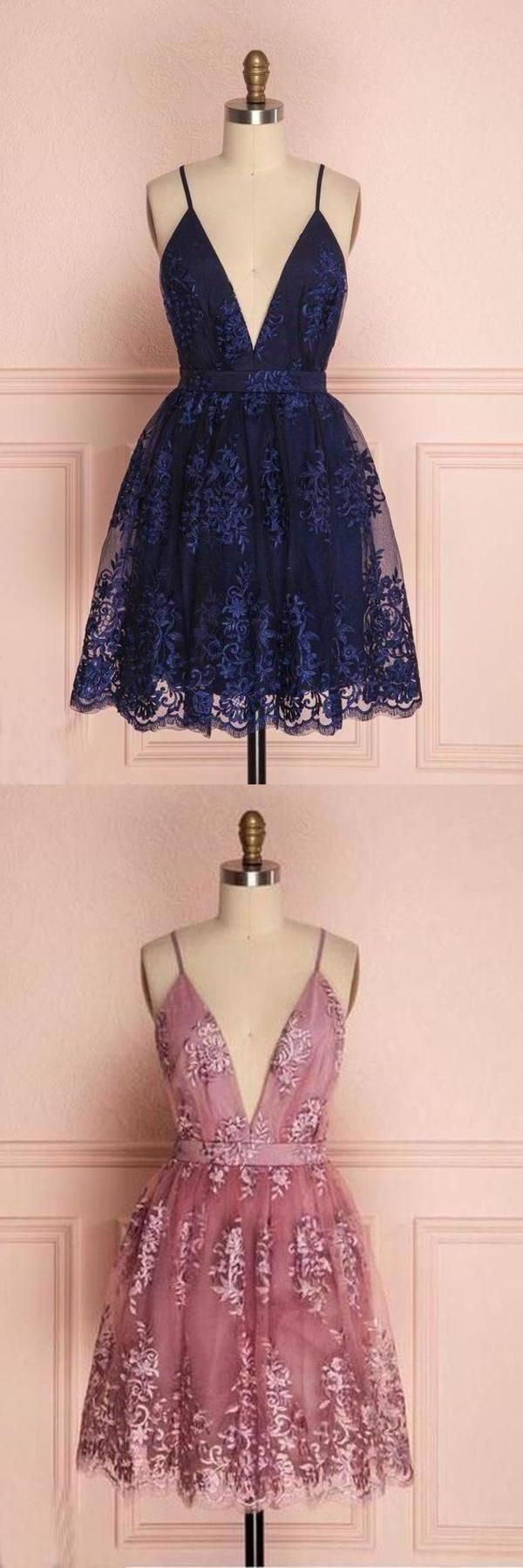 Navy Blue Deep V Neck Lace Spaghetti Straps Homecoming Dresses Short Prom Dresses