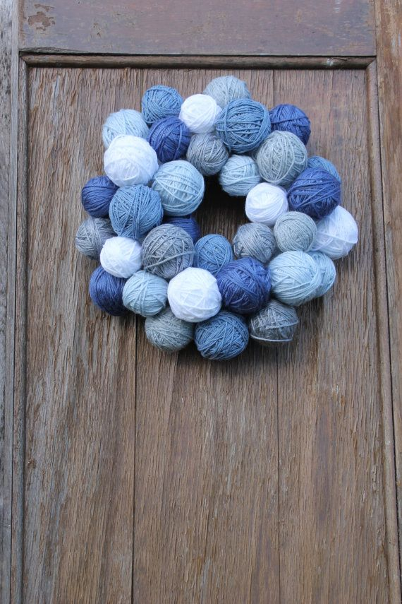 Winter Wreath Yarn Ball Wreath Blue Wreath January