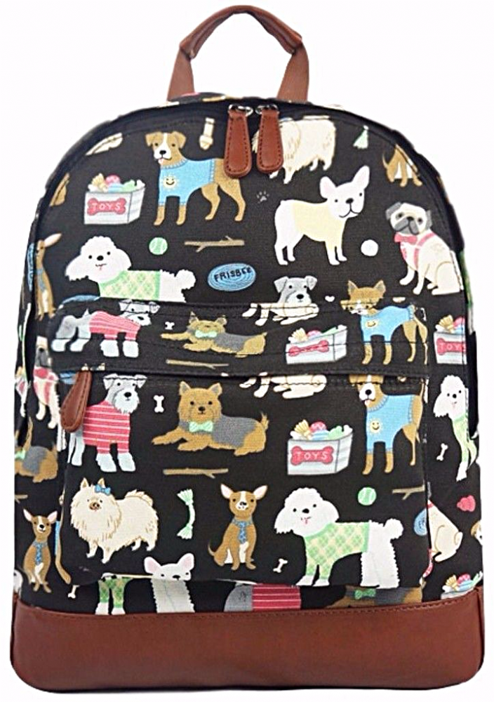 3f561e4bd8b2 A black canvas backpack rucksack with a Dog print thick canvas fabric and  brown faux leather trim The bag fastens with a zip external zip fastening
