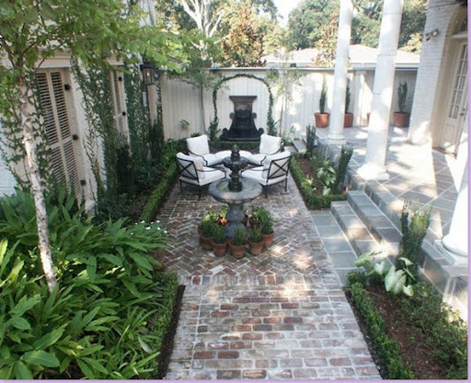 120 Small Courtyard Garden with Seating Area