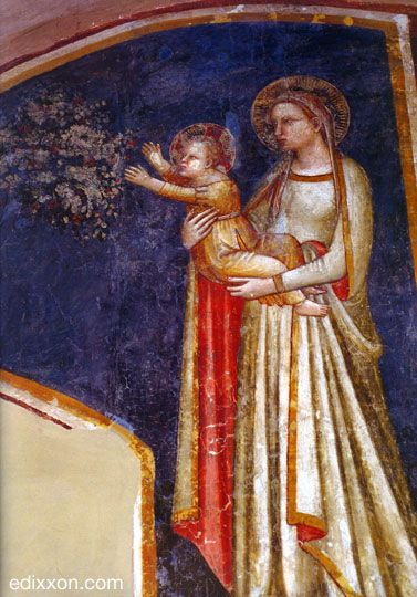Allegretto Nuzi - Madonna col bambino - affresco - Fabriano, Chiesa di San Domenico, Sala Capitolare.