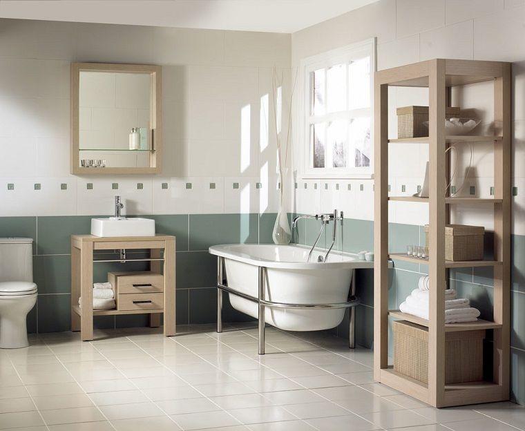 Arredare bagno stile vintage vasca mobili legno interior design